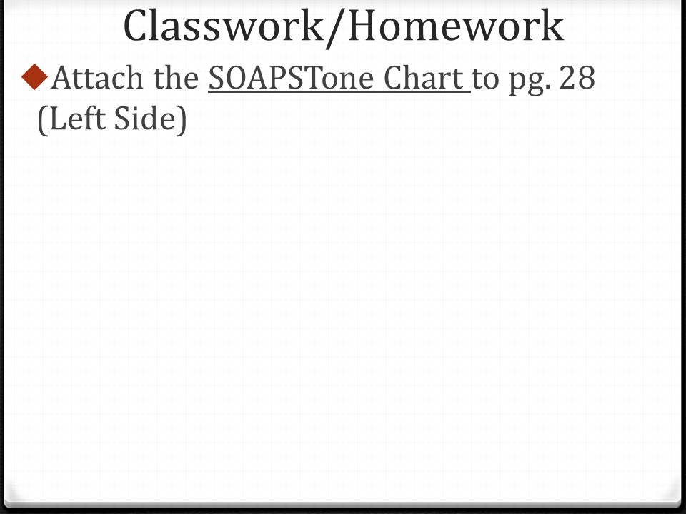 Classwork/Homework  Attach the SOAPSTone Chart to pg. 28 (Left Side)