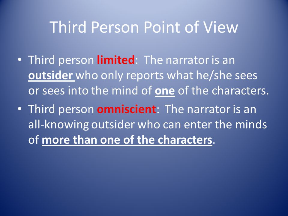 First Person Point of View The narrator (I) is a character in the story who can reveal only personal thoughts and feelings and what he/she sees and is told by the other characters.