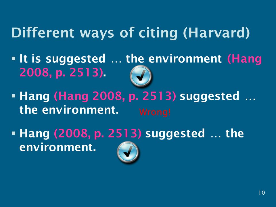 Different ways of citing (Harvard)  It is suggested … the environment (Hang 2008, p.