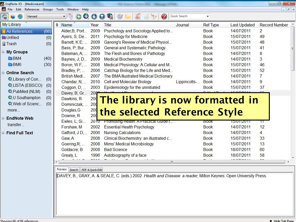 The library is now formatted in the selected Reference Style 45