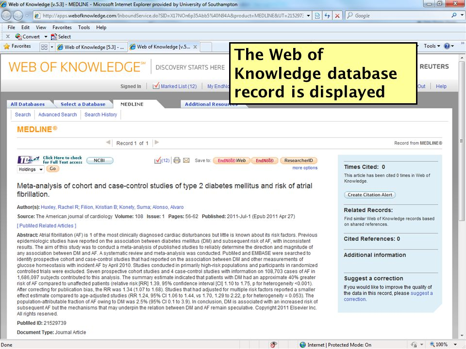 The Web of Knowledge database record is displayed 56