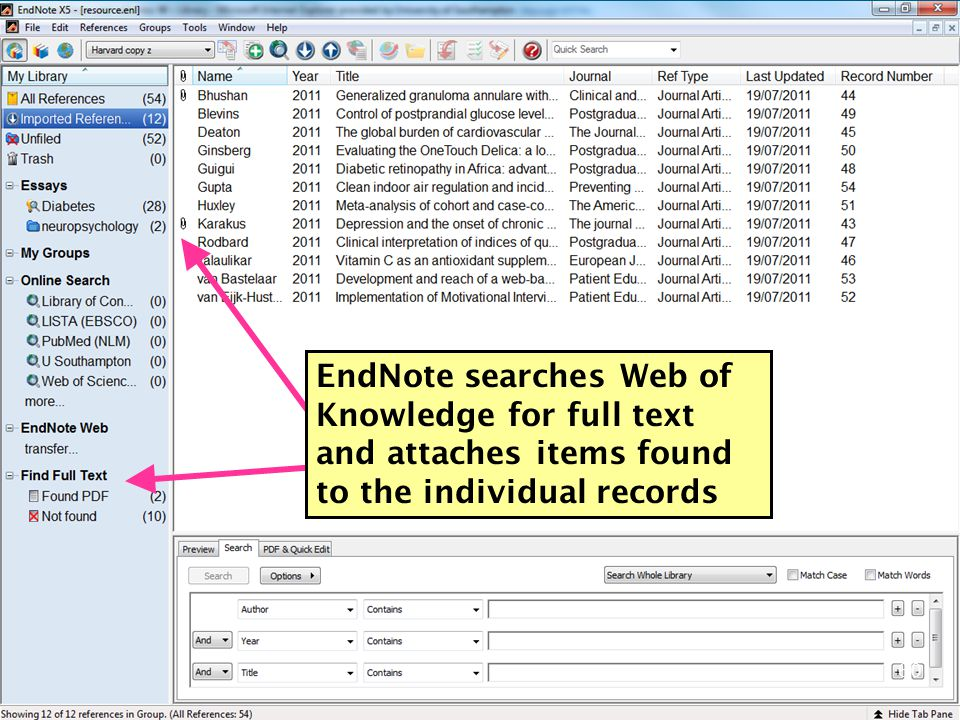 EndNote searches Web of Knowledge for full text and attaches items found to the individual records 60