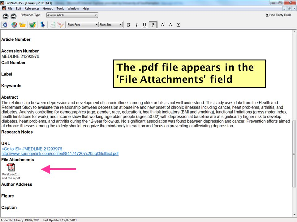 The.pdf file appears in the File Attachments field 61