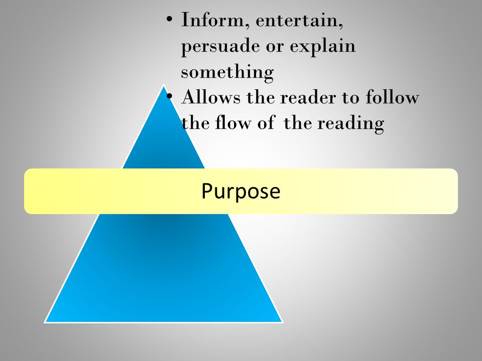 Purpose Inform, entertain, persuade or explain something Allows the reader to follow the flow of the reading