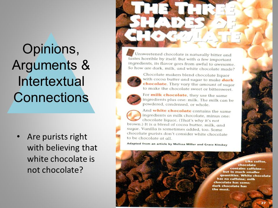 Opinions, Arguments & Intertextual Connections Are purists right with believing that white chocolate is not chocolate?