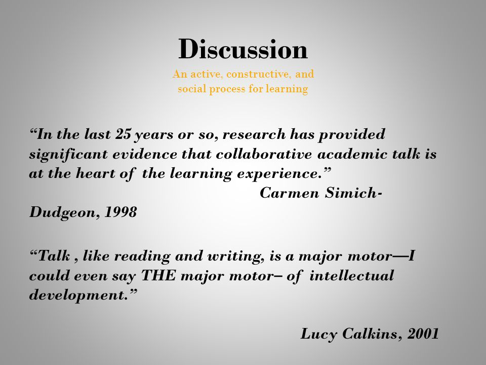 """Discussion An active, constructive, and social process for learning """"In the last 25 years or so, research has provided significant evidence that colla"""