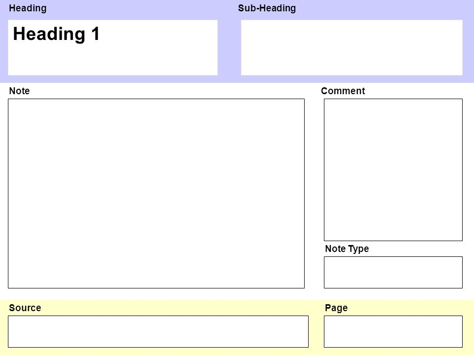HeadingSub-Heading Source NoteComment Note Type Page Heading 2