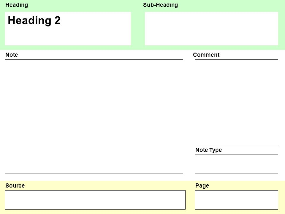 HeadingSub-Heading Source NoteComment Note Type Page Heading 3