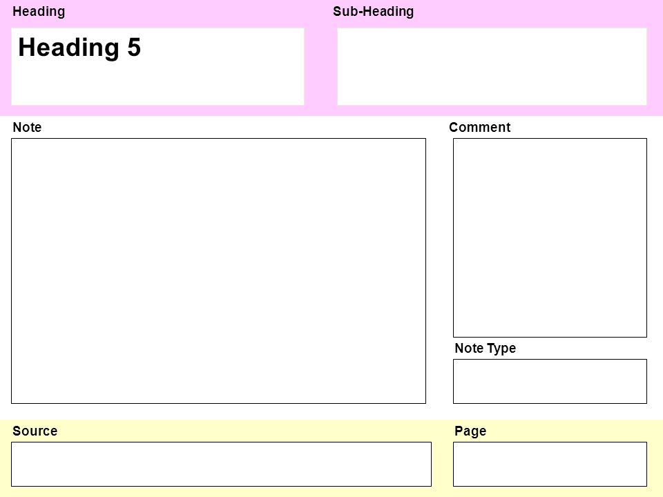 HeadingSub-Heading Source NoteComment Note Type Page Heading 6