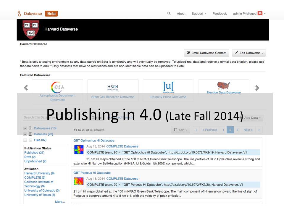 Publishing in 4.0 (Late Fall 2014)