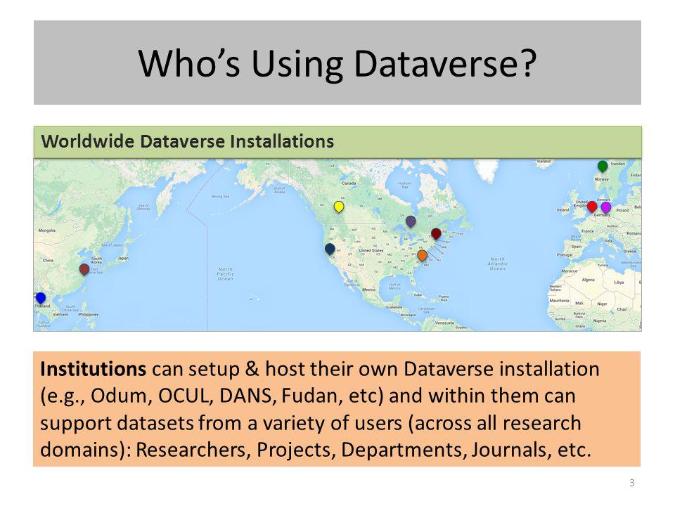 Who's Using Dataverse? 3 Worldwide Dataverse Installations Institutions can setup & host their own Dataverse installation (e.g., Odum, OCUL, DANS, Fud