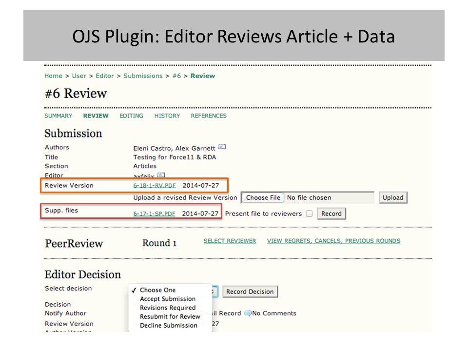 OJS Plugin: Editor Reviews Article + Data