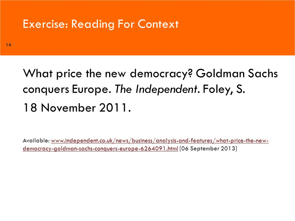 Exercise: Reading For Context 14 What price the new democracy.