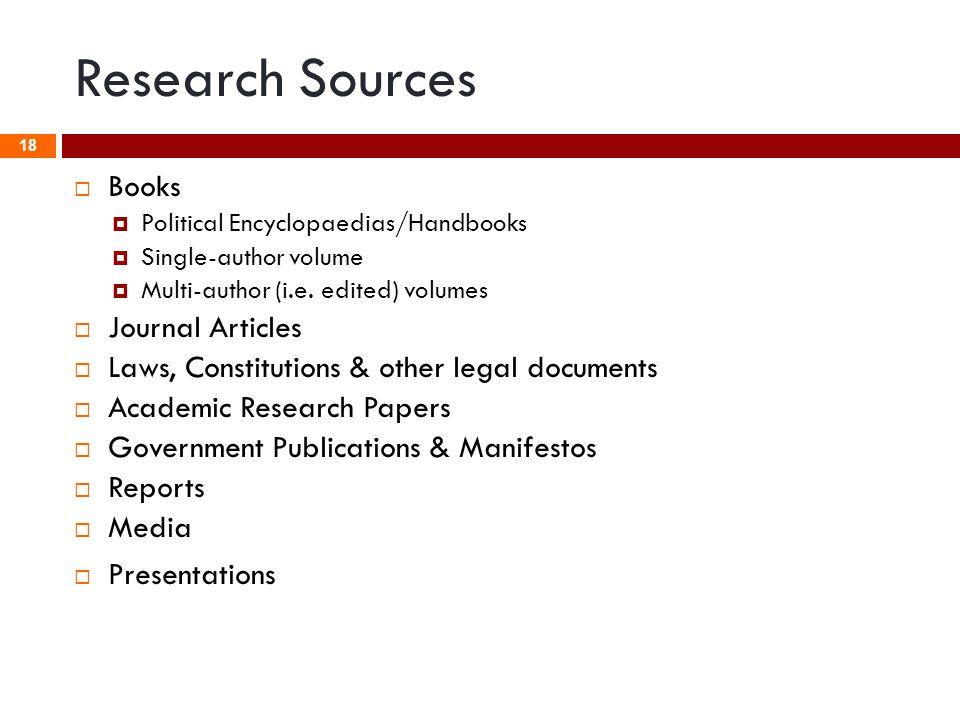 Research Sources  Books  Political Encyclopaedias/Handbooks  Single-author volume  Multi-author (i.e. edited) volumes  Journal Articles  Laws, C