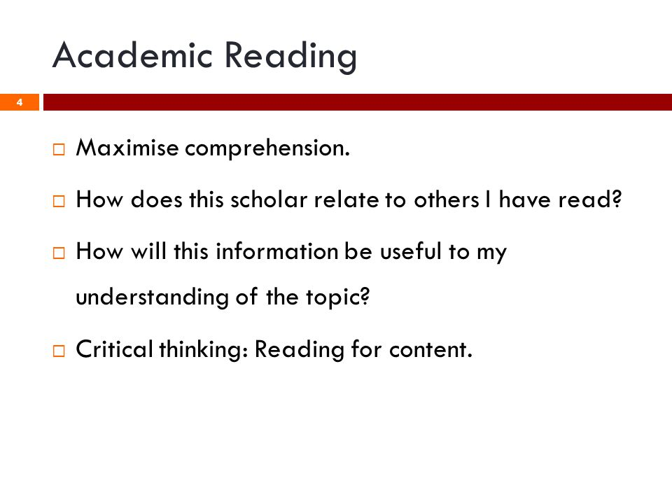  Maximise comprehension.  How does this scholar relate to others I have read.