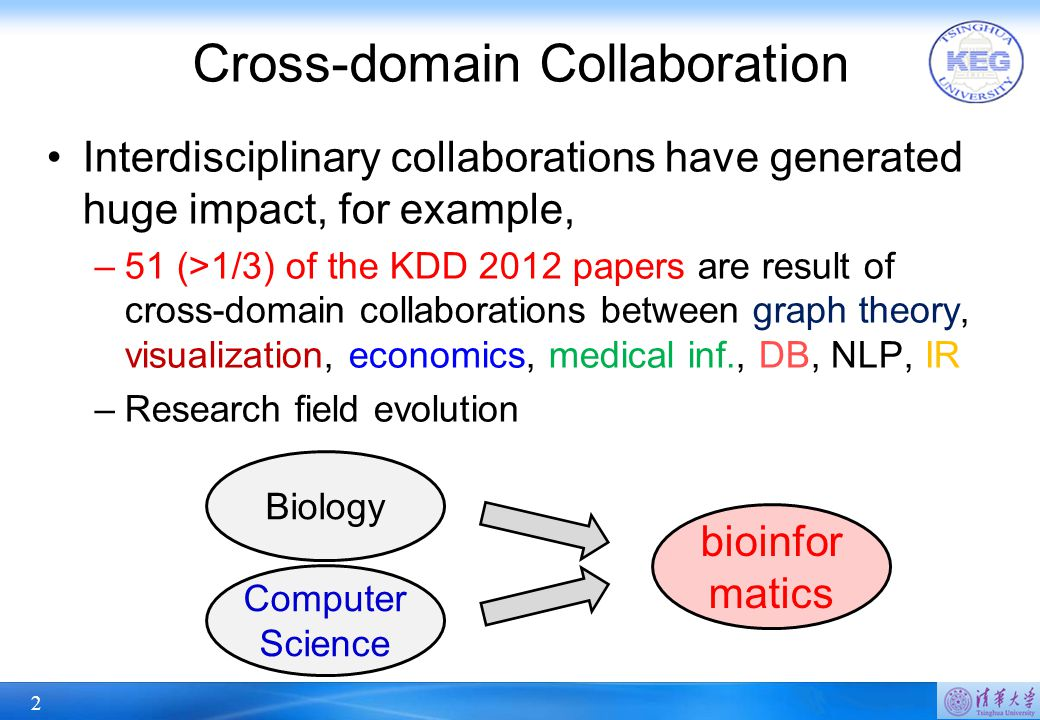2 Cross-domain Collaboration Interdisciplinary collaborations have generated huge impact, for example, –51 (>1/3) of the KDD 2012 papers are result of