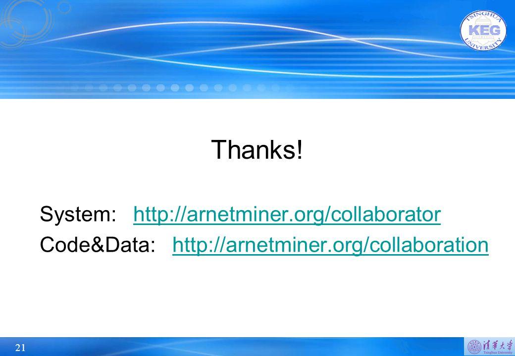 21 System: http://arnetminer.org/collaboratorhttp://arnetminer.org/collaborator Code&Data: http://arnetminer.org/collaborationhttp://arnetminer.org/collaboration Thanks!