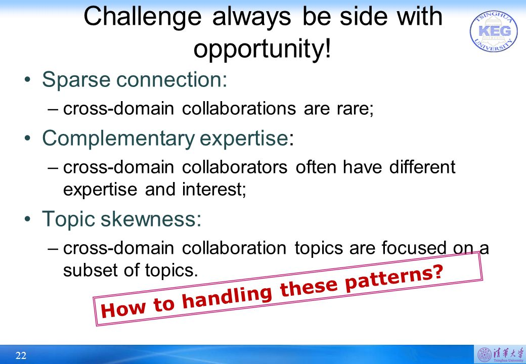 22 Challenge always be side with opportunity! Sparse connection: –cross-domain collaborations are rare; Complementary expertise: –cross-domain collabo