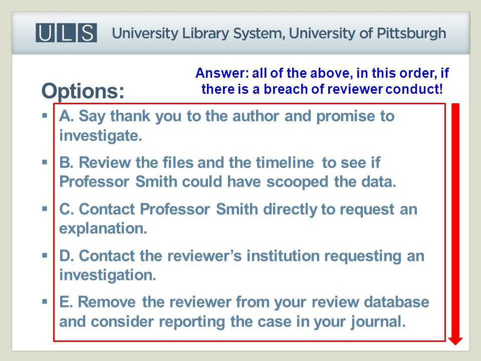Options:  A. Say thank you to the author and promise to investigate.  B. Review the files and the timeline to see if Professor Smith could have scoo