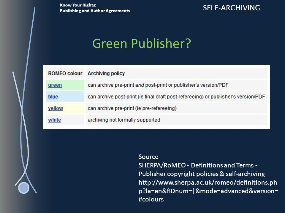 Know Your Rights: Publishing and Author Agreements SELF-ARCHIVING Green Publisher.