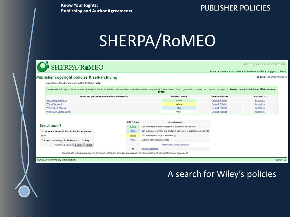 Know Your Rights: Publishing and Author Agreements PUBLISHER POLICIES SHERPA/RoMEO A search for Wiley's policies