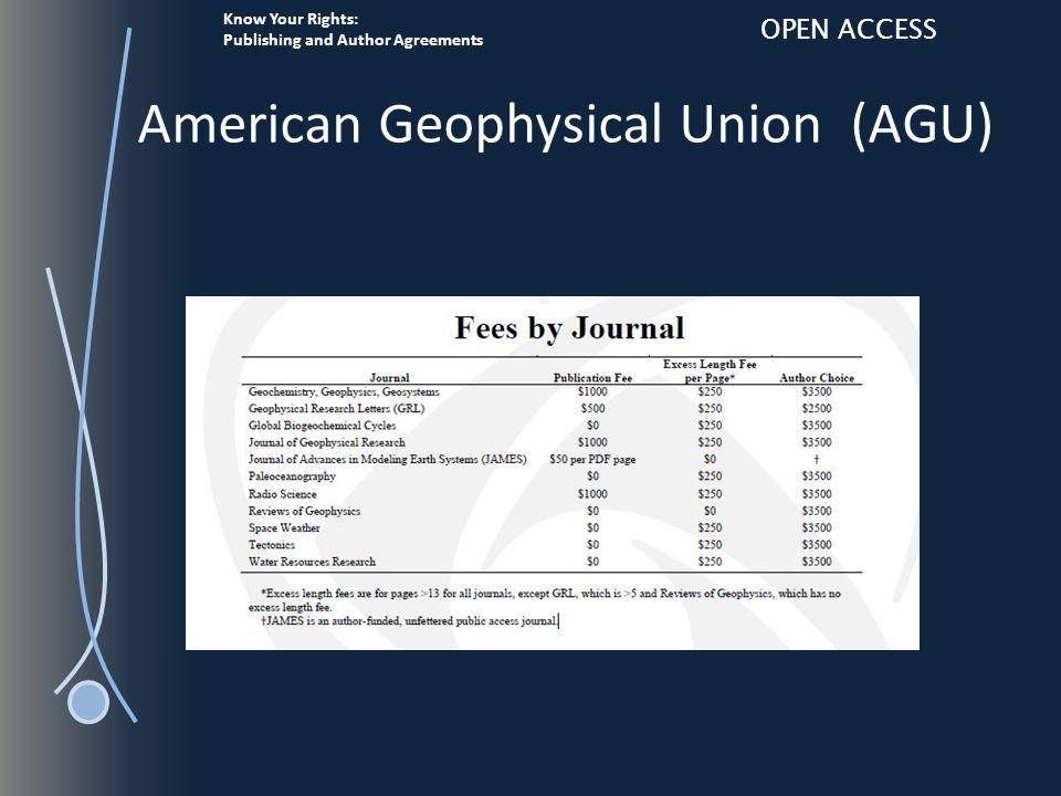 Know Your Rights: Publishing and Author Agreements OPEN ACCESS American Geophysical Union (AGU)