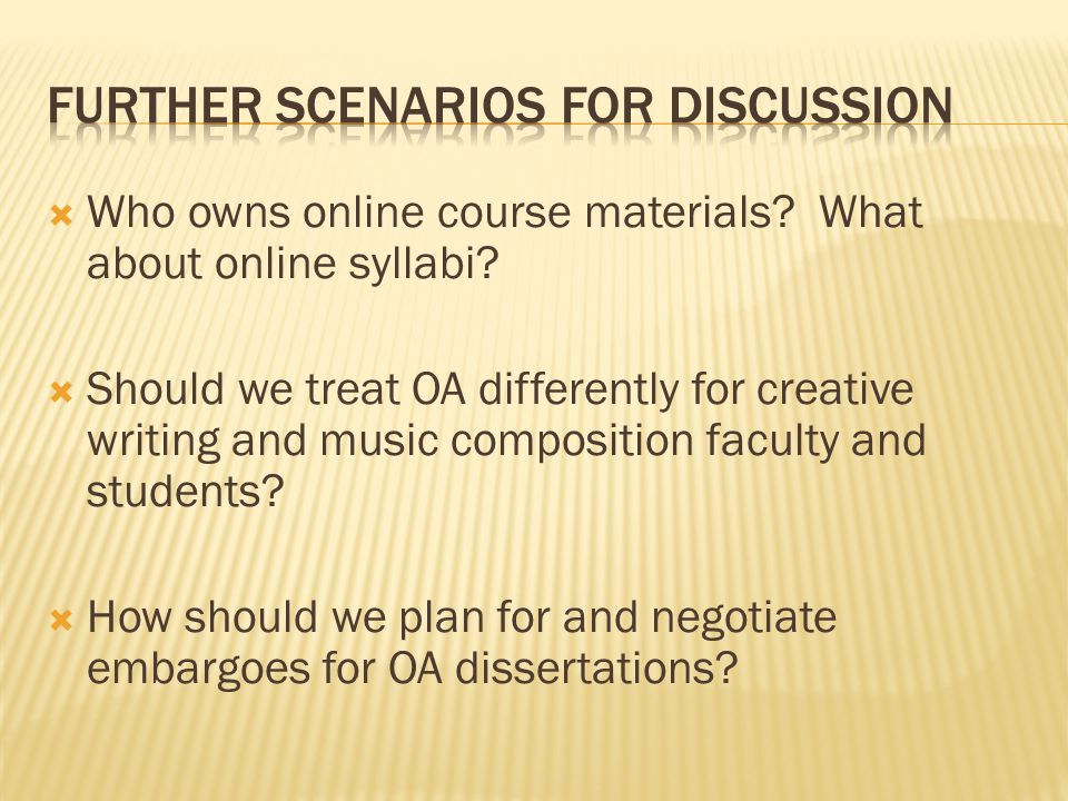  Who owns online course materials. What about online syllabi.