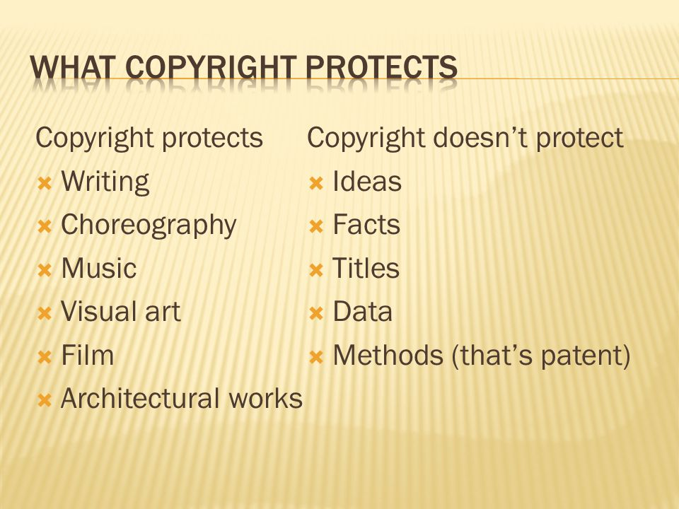 Copyright protects  Writing  Choreography  Music  Visual art  Film  Architectural works Copyright doesn't protect  Ideas  Facts  Titles  Dat