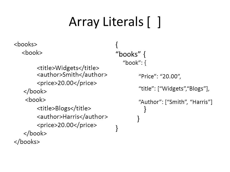 Array Literals/iterations Widgets Smith 20.00 Blogs Harris 20.00 { books { book : [ { Price : 15.00 , title : [ Widgets , Blogs ], Author : [ Smith , Harris ], } { Price : 20.00 , title : [ HTML , CSS ], Author : [ Langley , Benson ], } ] }