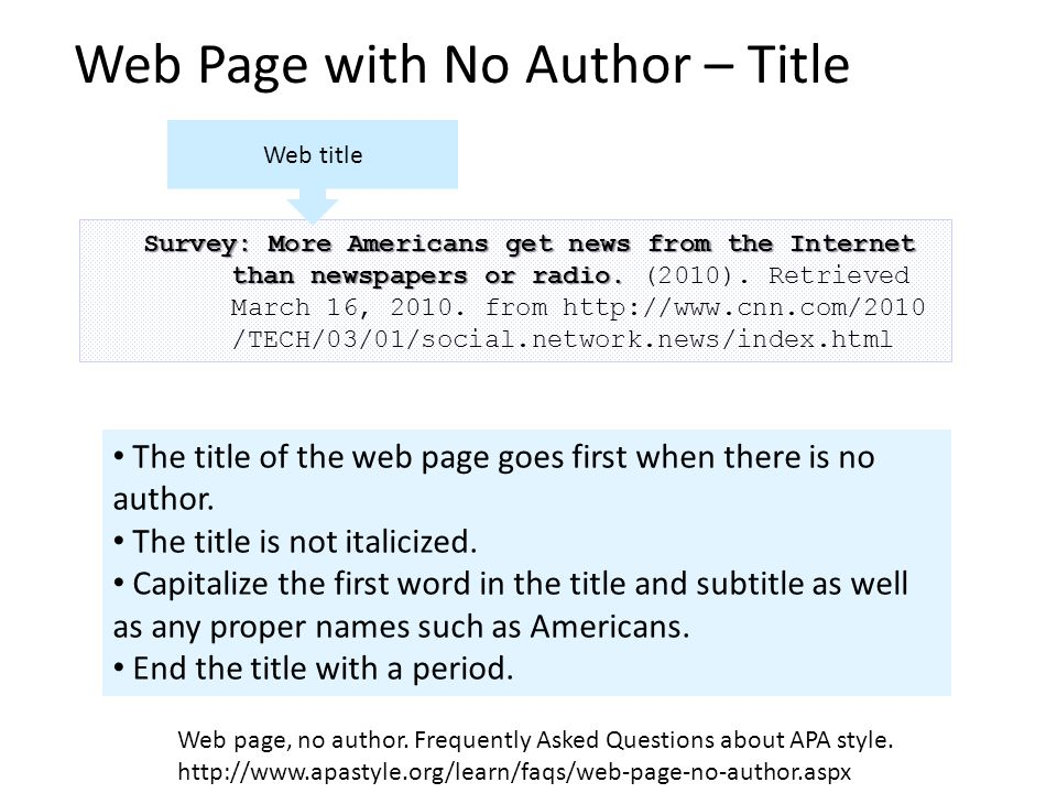 Web Page with No Author – Title Goes First Survey: More Americans get news from the Internet than newspapers or radio.