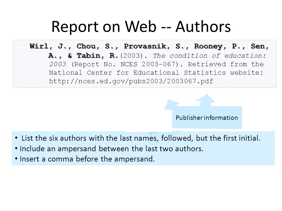 Wirl, J., Chou, S., Provasnik, S., Rooney, P., Sen, A., & Tabin, R. Wirl, J., Chou, S., Provasnik, S., Rooney, P., Sen, A., & Tabin, R. (2003). The co