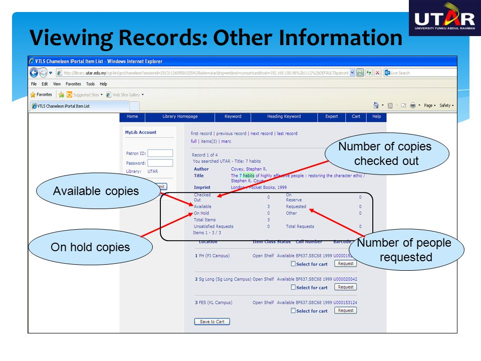 Viewing Records: Other Information Available copies On hold copies Number of copies checked out Number of people requested
