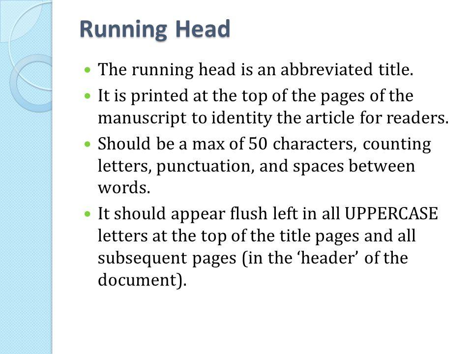 Apa running heads