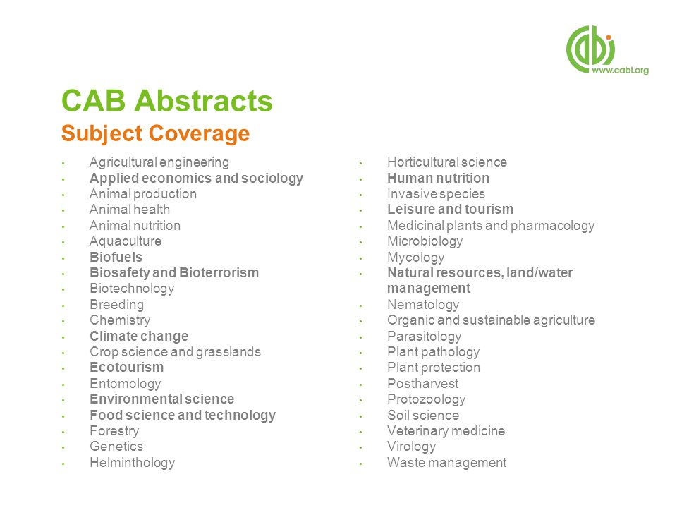 Agricultural engineering Applied economics and sociology Animal production Animal health Animal nutrition Aquaculture Biofuels Biosafety and Bioterror