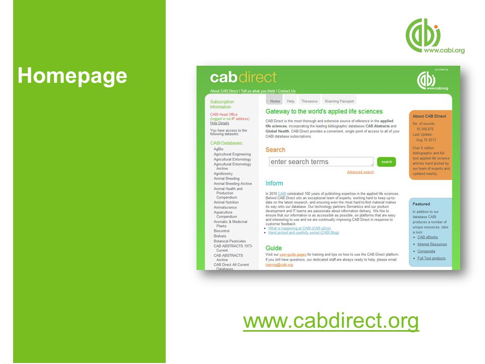 Homepage www.cabdirect.org