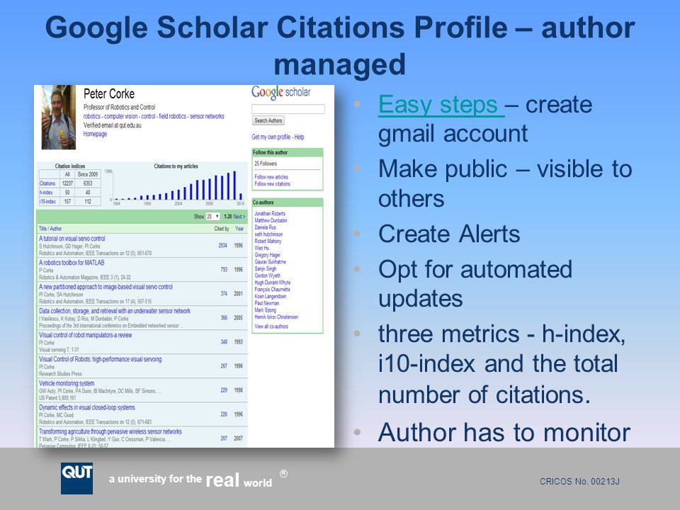 CRICOS No. 00213J a university for the world real R Google Scholar Citations Profile – author managed Easy steps – create gmail accountEasy steps Make
