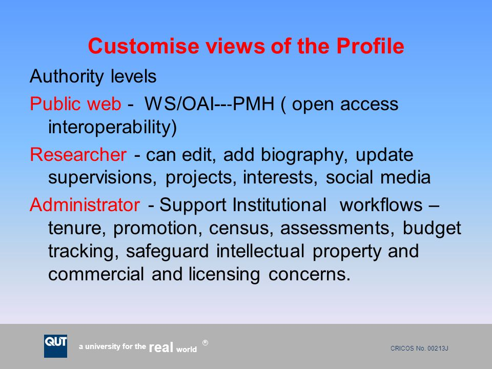 CRICOS No. 00213J a university for the world real R Customise views of the Profile Authority levels Public web - WS/OAI-- ‐ PMH ( open access interope