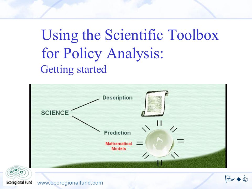 Using the Scientific Toolbox for Policy Analysis: Getting started Author, presenter.