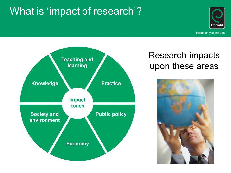 What is 'impact of research' Research impacts upon these areas