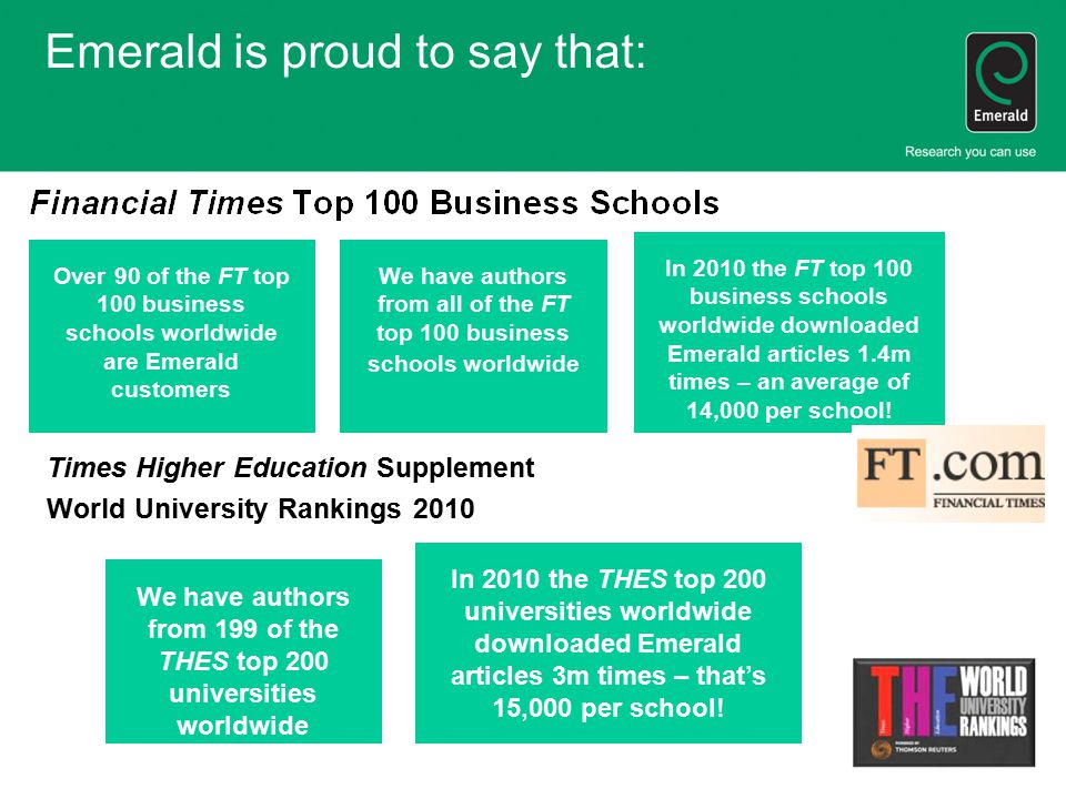 Emerald is proud to say that: Times Higher Education Supplement World University Rankings 2010 We have authors from 199 of the THES top 200 universiti