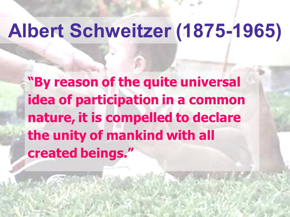 "Albert Schweitzer (1875-1965) ""By reason of the quite universal idea of participation in a common nature, it is compelled to declare the unity of mank"
