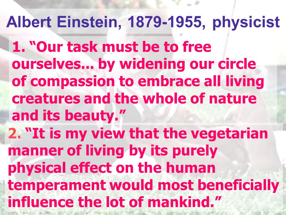 "2. ""It is my view that the vegetarian manner of living by its purely physical effect on the human temperament would most beneficially influence the lo"