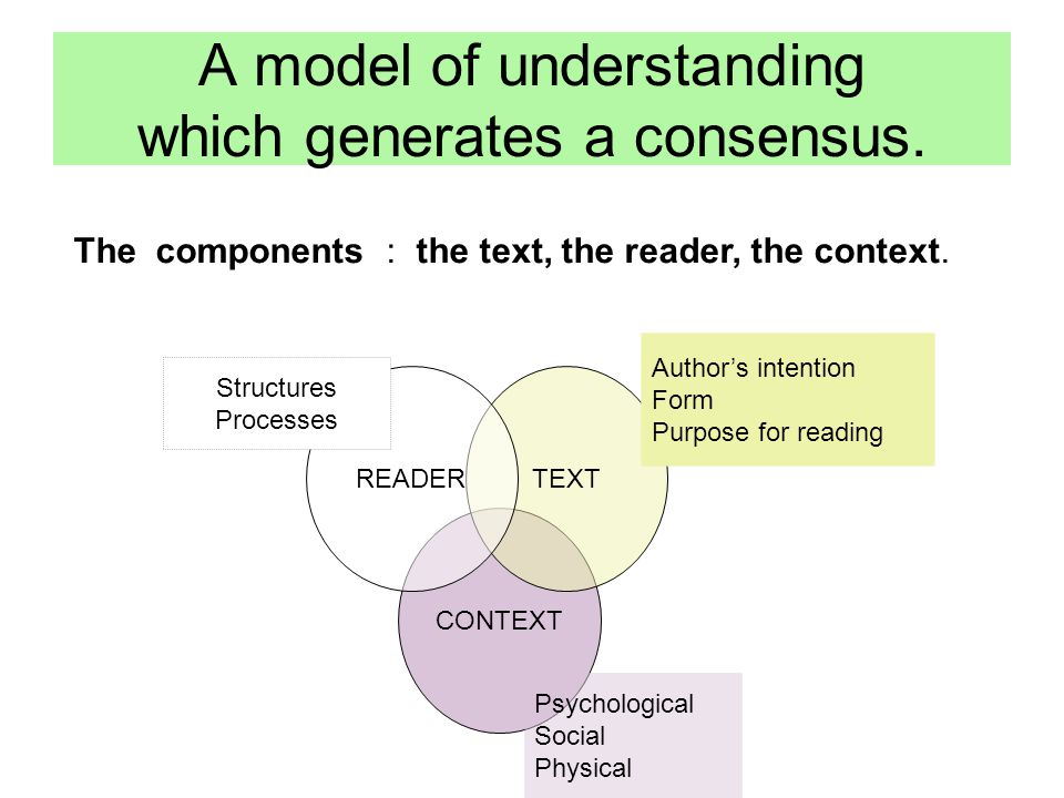CONTEXT TEXTREADER A model of understanding which generates a consensus.