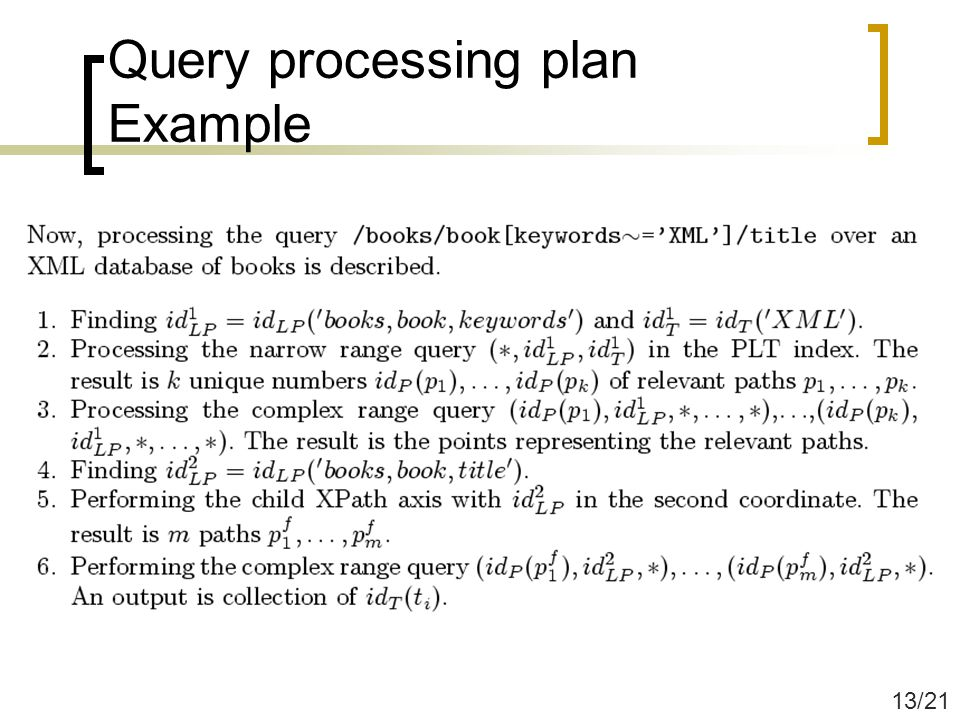 Query processing plan Example 13/21