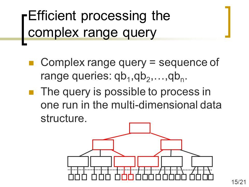 Efficient processing the complex range query Complex range query = sequence of range queries: qb 1,qb 2,…,qb n.