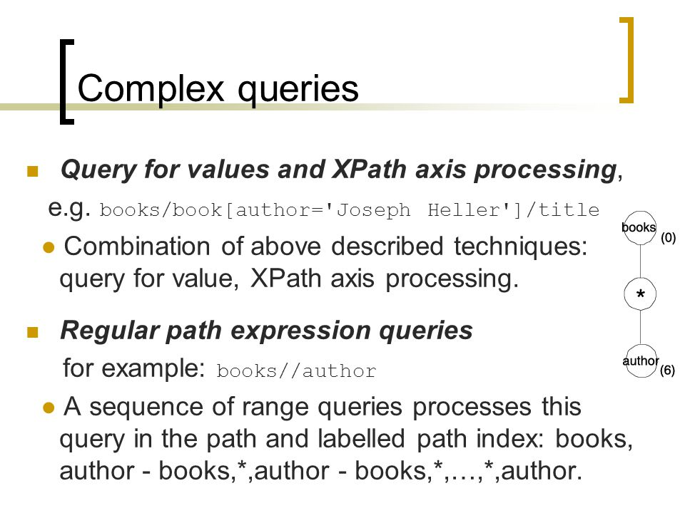 Complex queries Query for values and XPath axis processing, e.g.