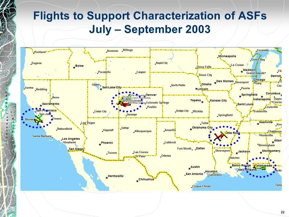 22 Flights to Support Characterization of ASFs July – September 2003