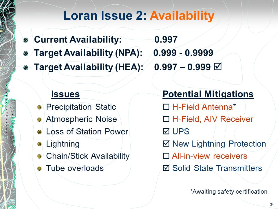 24 Loran Issue 2: Availability Current Availability: 0.997 Target Availability (NPA): 0.999 - 0.9999 Target Availability (HEA): 0.997 – 0.999  IssuesPotential Mitigations Precipitation Static  H-Field Antenna* Atmospheric Noise  H-Field, AIV Receiver Loss of Station Power  UPS Lightning  New Lightning Protection Chain/Stick Availability  All-in-view receivers Tube overloads  Solid State Transmitters *Awaiting safety certification