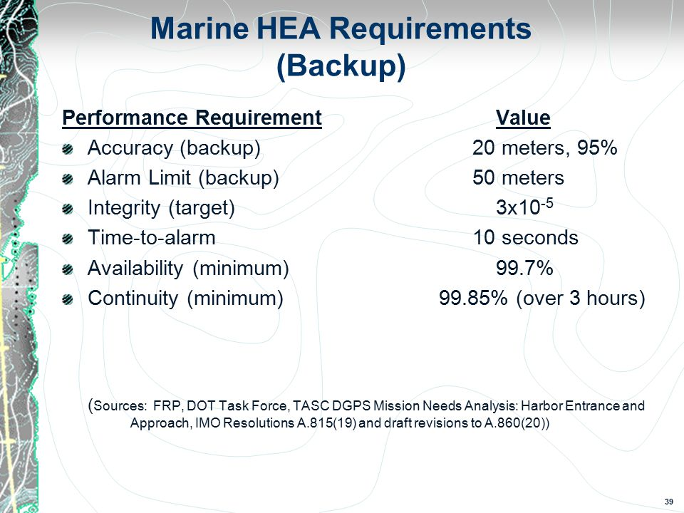 39 Marine HEA Requirements (Backup) Performance Requirement Value Accuracy (backup)20 meters, 95% Alarm Limit (backup)50 meters Integrity (target) 3x10 -5 Time-to-alarm10 seconds Availability (minimum) 99.7% Continuity (minimum) 99.85% (over 3 hours) ( Sources: FRP, DOT Task Force, TASC DGPS Mission Needs Analysis: Harbor Entrance and Approach, IMO Resolutions A.815(19) and draft revisions to A.860(20))