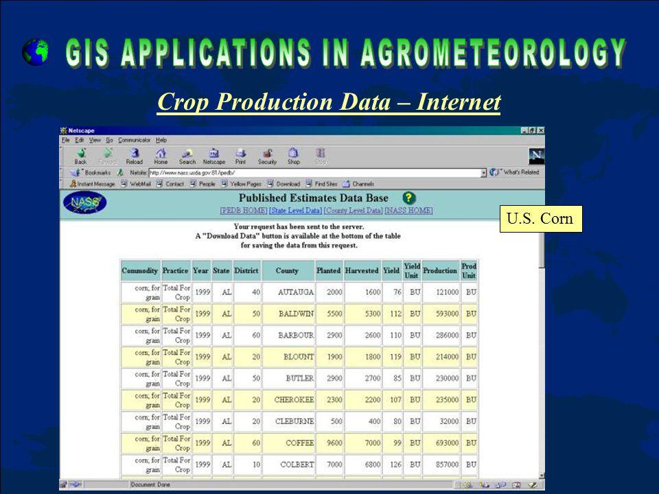 Crop Production Data – Internet U.S. Corn